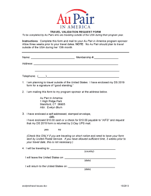 Au Pair In America Application Form - Fill Online, Printable ...