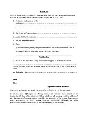Form 60 Format - Fill Online, Printable, Fillable, Blank | PDFfiller