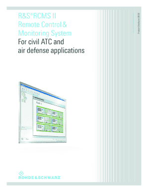 Product Brochure (english) for R&S RCMS II Remote Control?& Monitoring System - rohde-schwarz