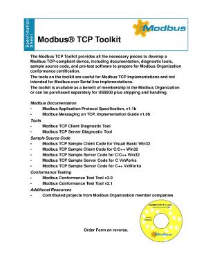 Fillable Online modbus Modbus TCP Toolkit - The Modbus Organization