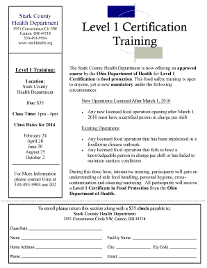 Level 1 Certification Training - Stark County Health Department - starkhealth
