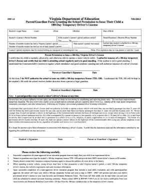 Fillable Online PPF-13 Virginia Department of Education Parent ...
