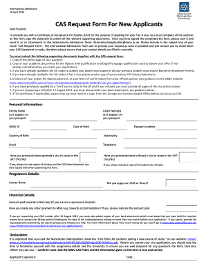 CAS Request Form For New Applicants