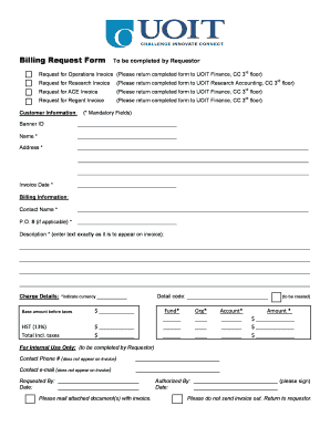 Fillable Online Billing Request Form To be completed by Requestor ...