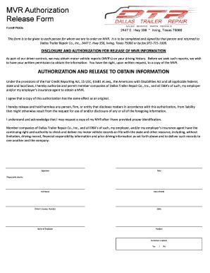 Fillable Online MVR Authorization Release Form - DallasTrailer.com Fax ...