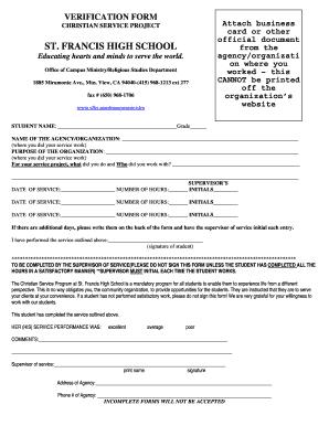 Fillable Online Christian Service Verification Form (pdf) - Saint ...