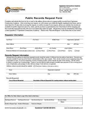 Fillable Online Public Records Request Form - Connections Academy ...