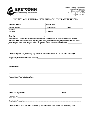 Fillable Online eastconn physical therapy referral form NEW REV ...
