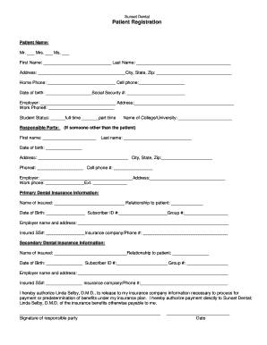 Dental patient registration forms edit fill out online sunset dental patient registration form thecheapjerseys Image collections