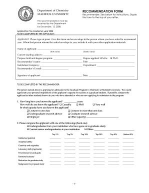 recommendation form mahidol university grad mahidol ac recommendation letter from employer