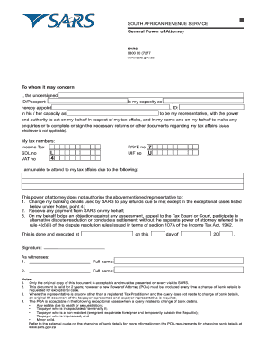 sars special power of attorney form download  Sars Power Of Attorney Pdf - Fill Online, Printable ...