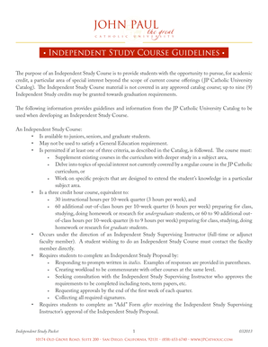 Independent Study Course Guidelines