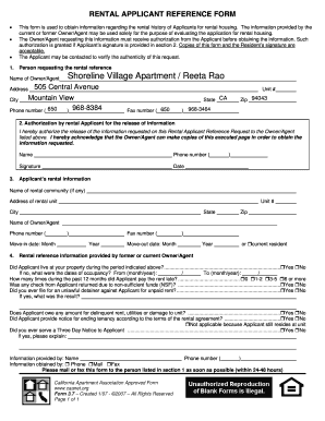Fillable Online RENTAL APPLICANT REFERENCE FORM - Cowell ...
