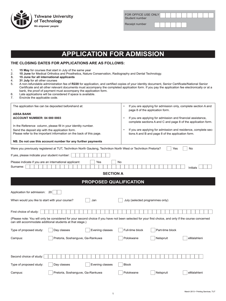 large - Tut Application Form For Teaching