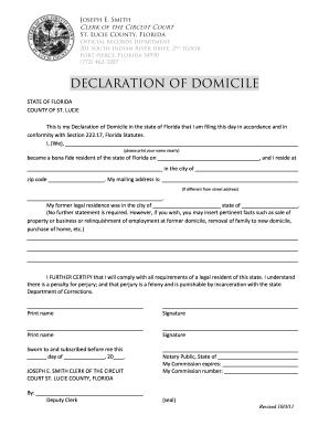 Fillable Online stlucieclerk Declaration of Domicile.pdf - Joseph ...