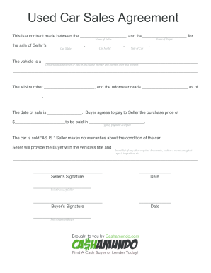 purchase agreement car Car Purchase Agreement Forms and Templates - Fillable