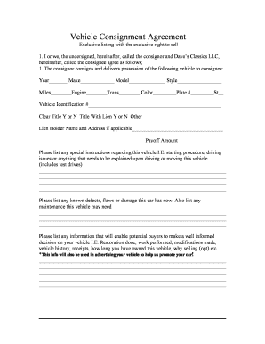Vehicle Consignment Agreement   Daveu0026#39;s Classics  Consignment Inventory Agreement Template