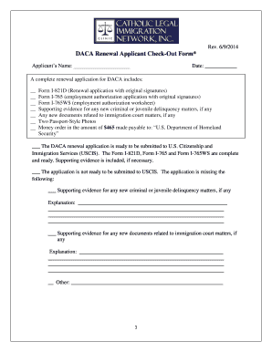 DACA Renewal Applicant Check-Out Form* - cliniclegal