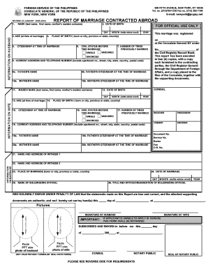 Fillable Online Report of Marriage Form - New York, PCG Fax Email ...