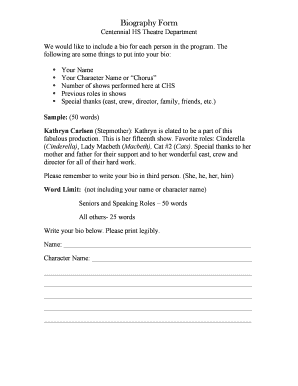 Bio Form - Fill Online, Printable, Fillable, Blank   PDFfiller
