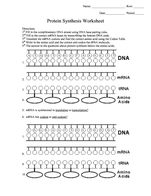 Protein Synthesis Worksheet Fill Online Printable Fillable Blank Pdffiller