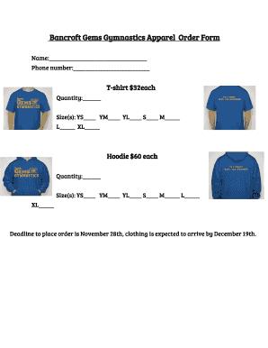 Fillable Online Bancroft Gems Gymnastics Apparel Order Form Fax
