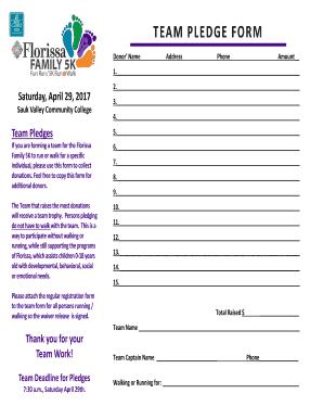 Fillable Online team pledge form - Florissa Fax Email Print