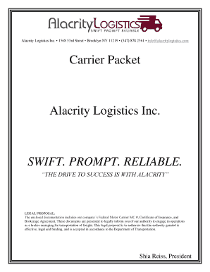 Fillable Online Carrier Packet Alacrity Logistics Inc  SWIFT