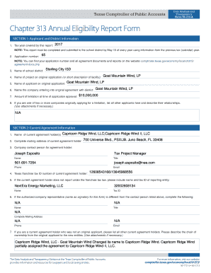 Fillable Online Chapter 313 Annual Eligibility Report Form  Data