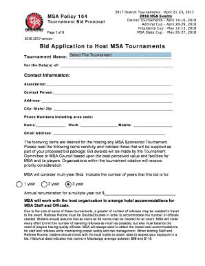 Fillable Online Bid Application to Host MSA Tournaments