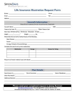 Fillable Online Life Insurance Illustration Request Form Simon