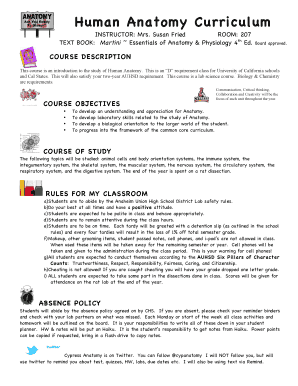 Fillable Online Human Anatomy Curriculum - Cypress High