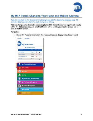 Fillable Online My MTA Portal: Changing Your Home and