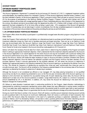 Fillable Online Account Packet - Optimum Market Portfolio (AP-OMP-R