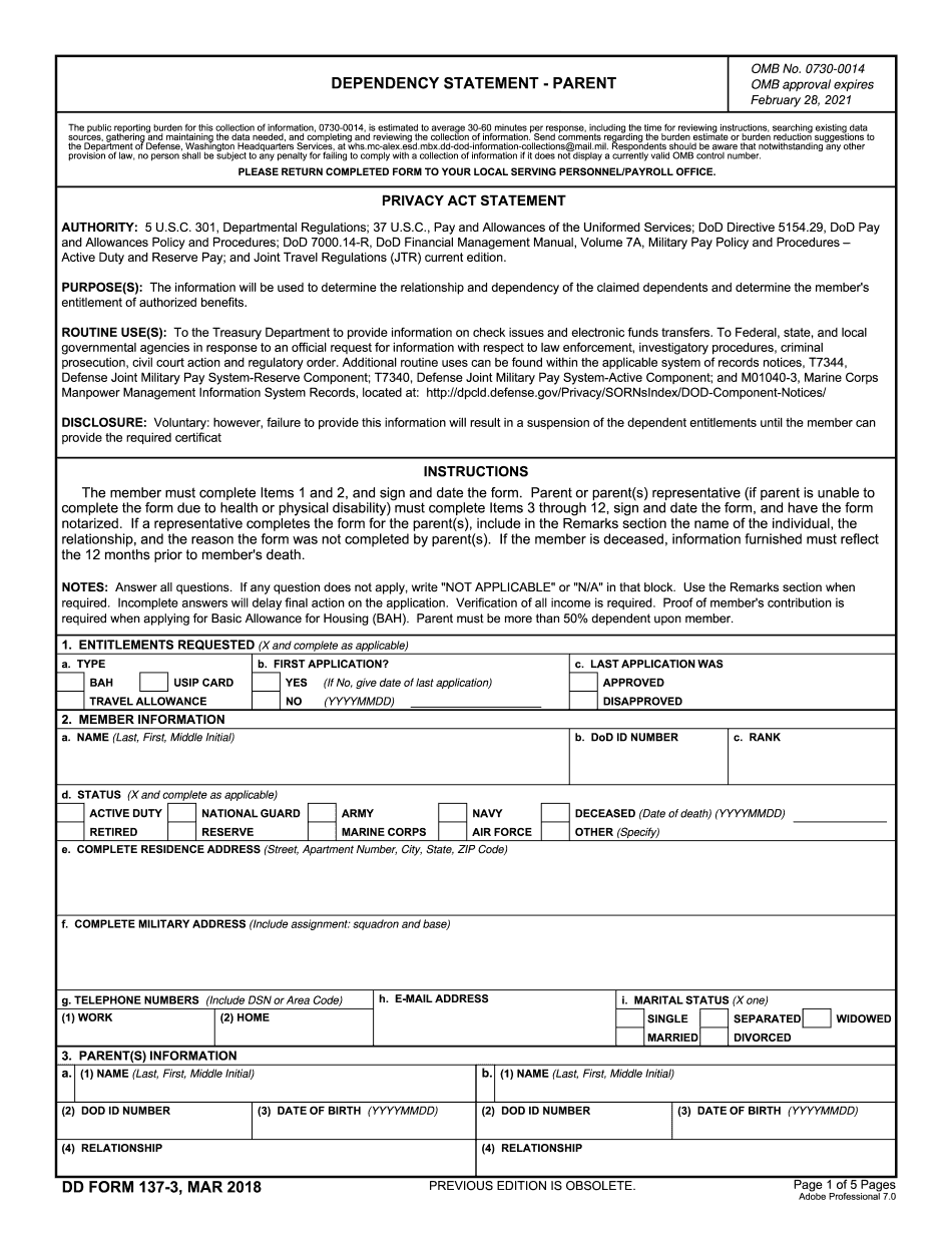where to mail dd form 137 3
