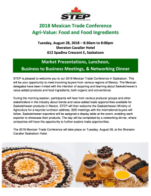 Fillable Online 2018 Mexican Trade Conference Agri-Value: Food and
