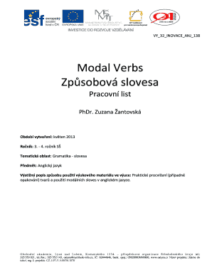 Fillable Online Modal Verbs Zp Sobov Slovesa Obchodn Fax Email
