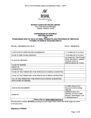 Fillable Online Please visit us: www odisha bsnl co in Fax