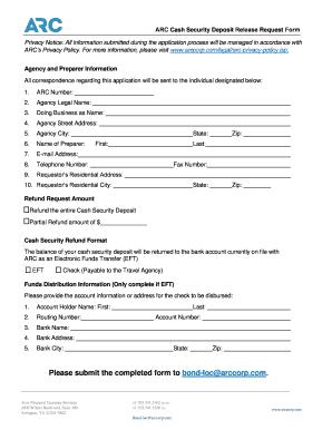deposit release form  Fillable Online ARC Cash Security Deposit Release Request ...