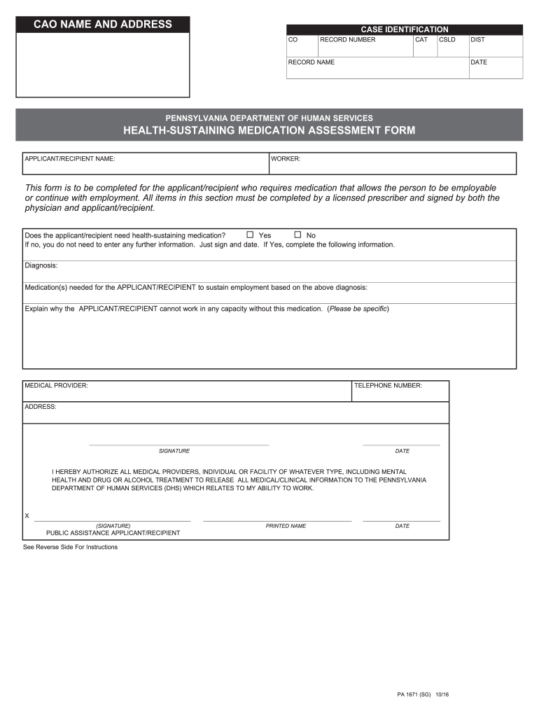 2016-2019 Form PA PA 1671 Fill Online, Printable, Fillable, Blank