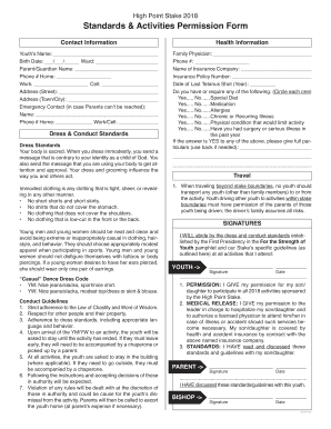 Standards & Activities Permission Form - High Point NC Stake