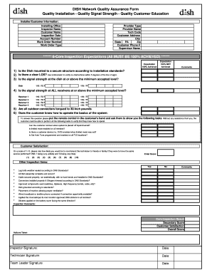 Fillable Online DISH Network Quality Assurance Form Quality