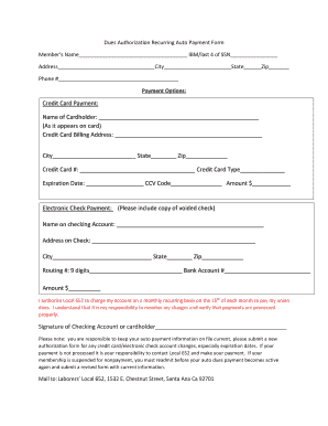 Dues Authorization Recurring Auto Payment Form
