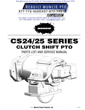 Fillable Online muncie-cs24-cs25-pto-parts-breakdown-service