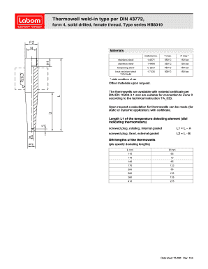 Fillable Online Data sheet - T5-030 - HB8010 - Thermowell