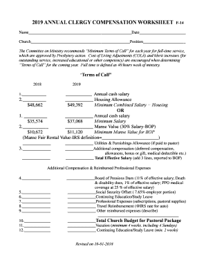 Fillable Online Annual Clergy Compensation Worksheet For 2019 Doc