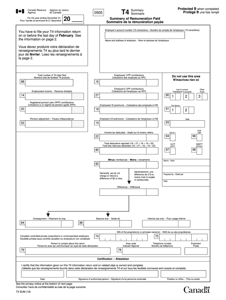 2018 Form Canada T4 summary Fill Online, Printable, Fillable