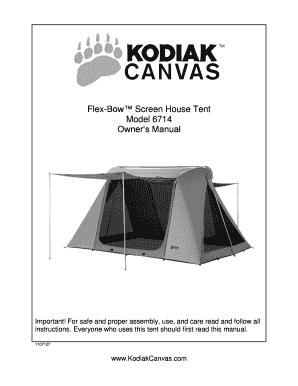 newest 5b87c de568 Fillable Online Flex-Bow Screen House Tent Model 6714 ...