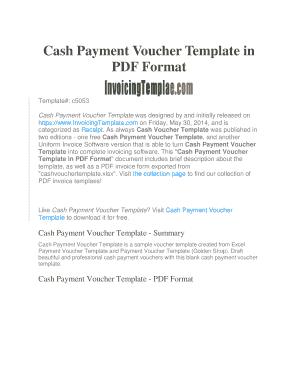 Fillable Online Cash Payment Voucher Template - InvoicingTemplate
