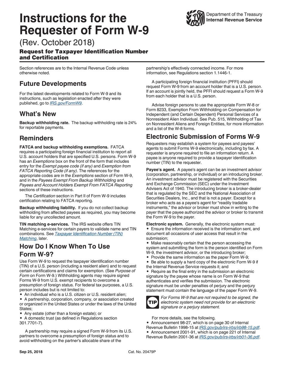 2019 IRS Instructions W-9